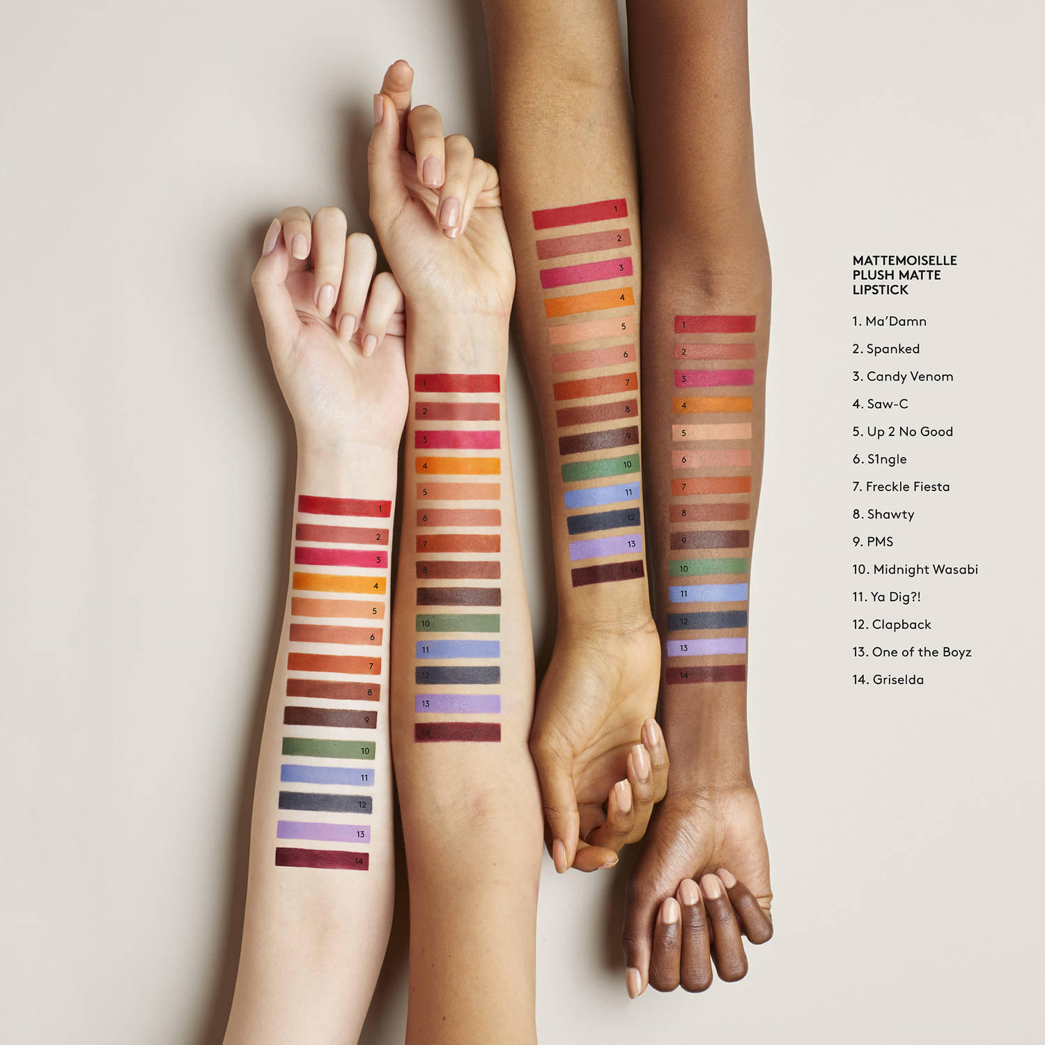 fenty beauty mattemoiselle swatches