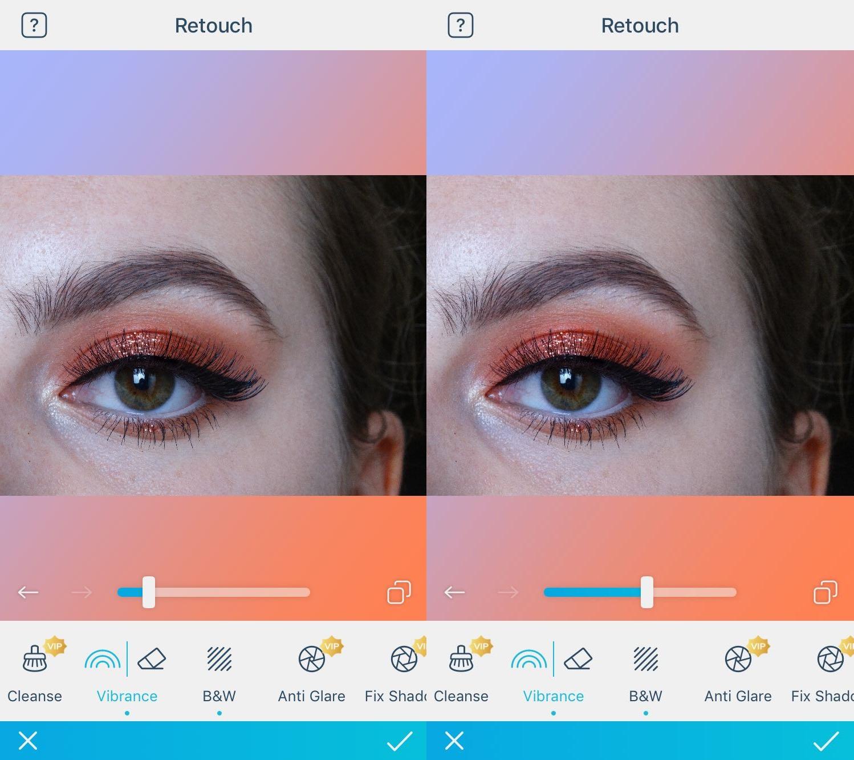 kleur versterken oogschaduw facetune 2
