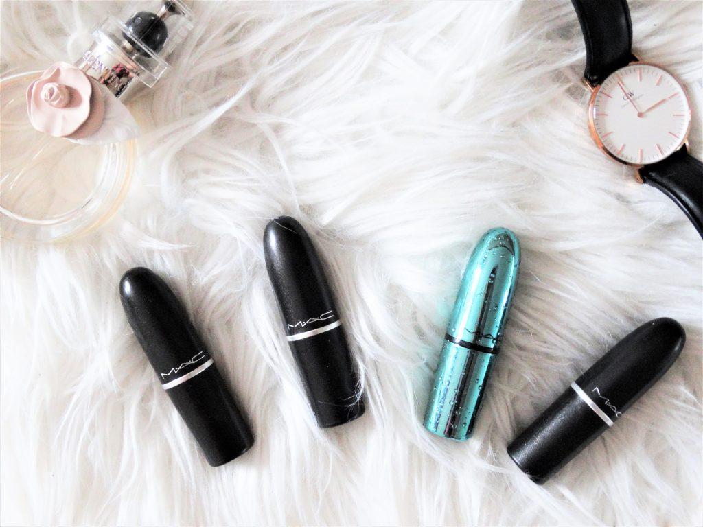 mac lipsticks flatlay